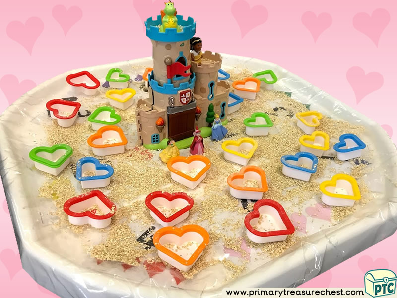 Valentine's Day - Dydd Santes Dwynwen - Heart Themed Small World - Numbers Multi-sensory - Cereals Tuff Tray Ideas and Activities