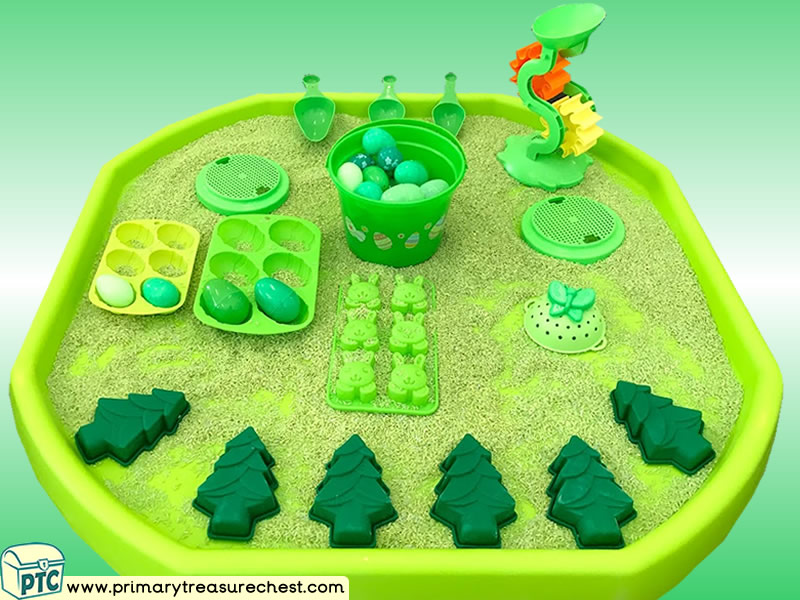 Easter - Easter Eggs - Eggs Themed Discovery Multi-sensory - Coloured Rice Tuff Tray Ideas and Activities