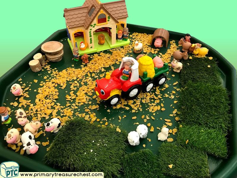 Farm Animals - Farm - Farmer - Harvest Themed Small World Multi-sensory Cereal Tuff Tray Ideas and Activities