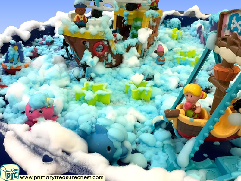 Pirates Themed Small World Multi-sensory - Mouldable Soap Tuff Tray Ideas and Activities