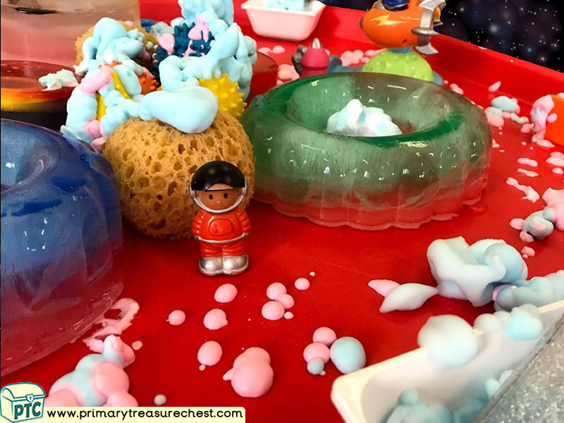 Space - Spaceman - Astronauts - Mars - Alien Themed Small World Multi-sensory Ice - Mouldable Soap Tuff Tray Ideas and Activities