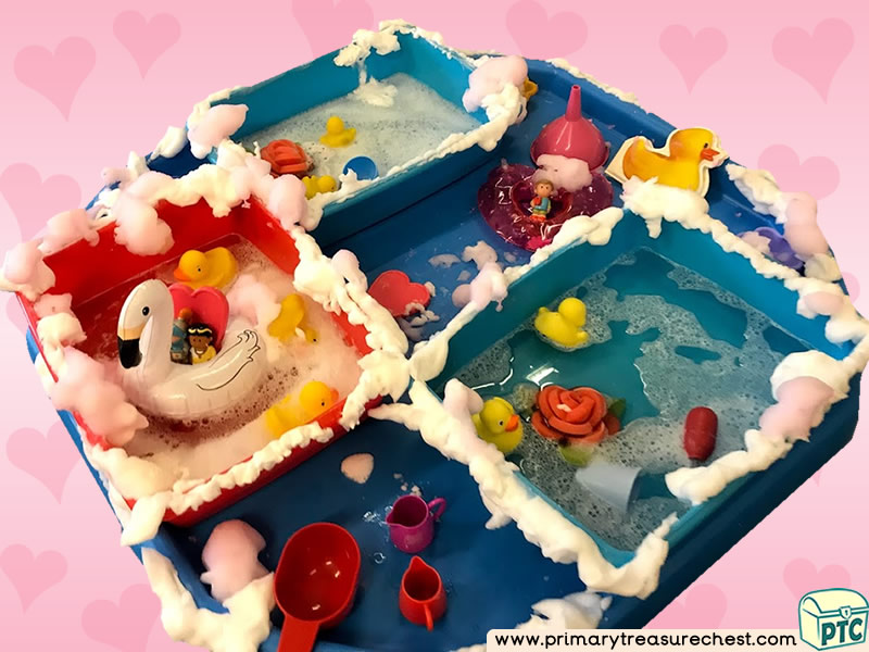 Valentine's Day - Dydd Santes Dwynwen - Heart Themed Water Multi-sensory - Mouldable Soap Tuff Tray Ideas and Activities
