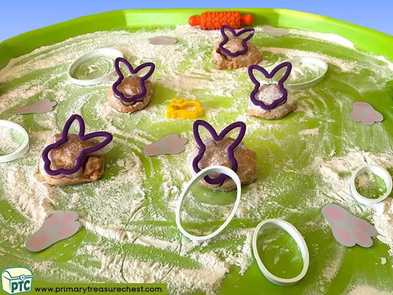 Easter - Easter Bunny - Rabbit Themed Playdough Multi-sensory Tuff Tray Ideas and Activities