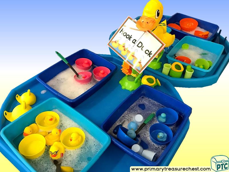 Fairground - Funfair - Fayre - Seaside - Hook-a-Duck Themed Water Multi-sensory Tuff Tray Ideas and Activities