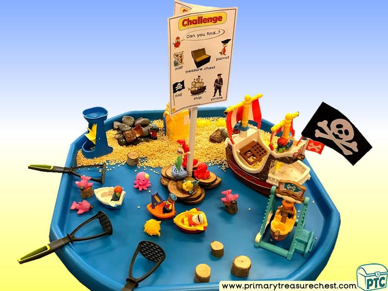 Pirates - Pirate Ship - Pirate Island Themed Small World Multi-sensory - Rice Tuff Tray Ideas and Activities