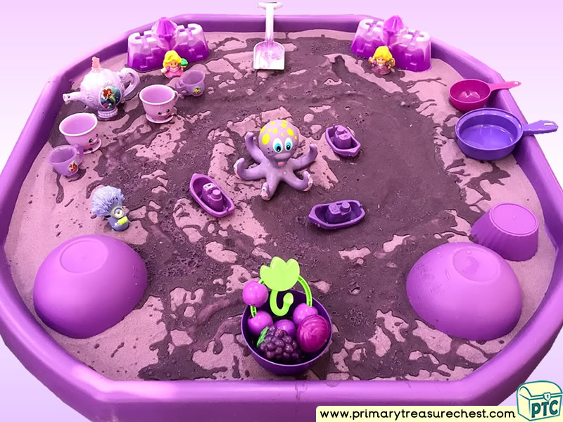 Colour Purple - Colour Recognition Themed Sand- Multi-sensory Tuff Tray Ideas and Activities