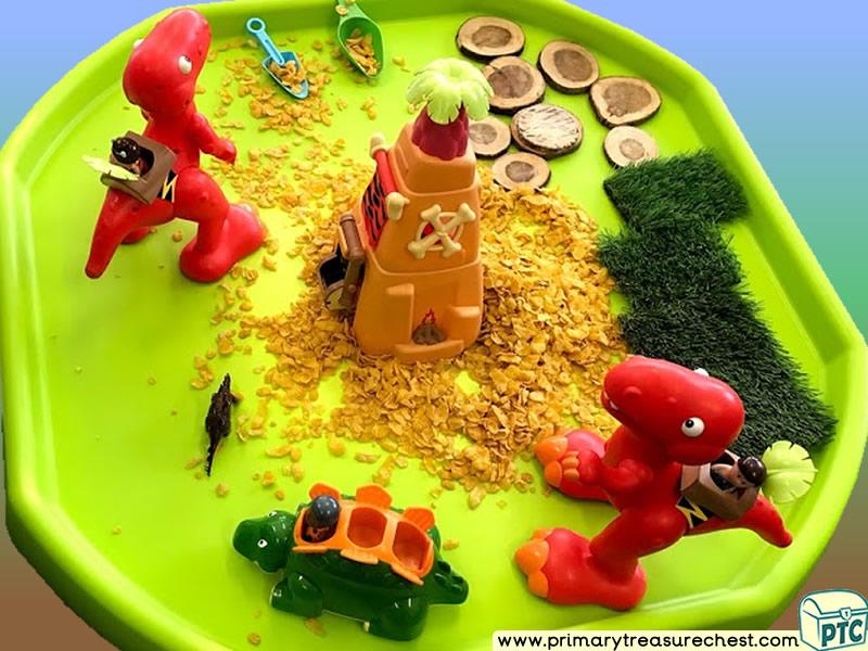 Dinosaur - Caveman Themed Small World - Multi-sensory - Cereals Tuff Tray Ideas and Activities