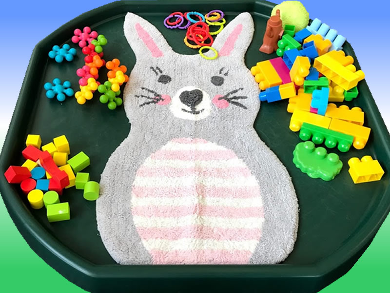 Easter - Easter Bunny - Rabbit Themed Construction Multi-sensory - Building Blocks Tuff Tray Ideas and Activities