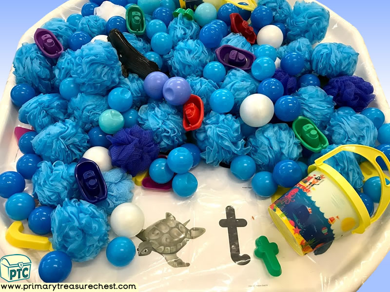 Sea life - Under the Sea - Pirate Themed Phonics - Phonic Readiness - Letter Sound - Multi-sensory - Plastic Balls Tuff Tray Ideas and Activities
