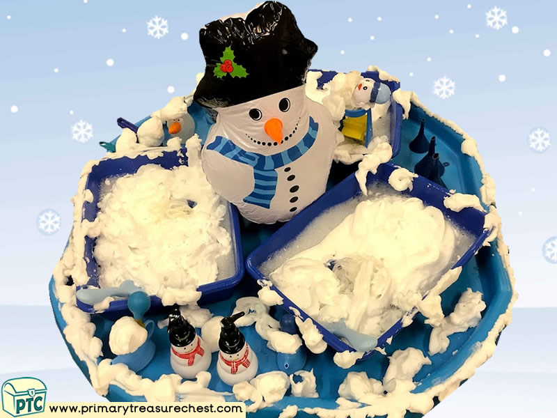 Winter – Snow - Snowman Themed Small World Play – Water Play - Multi- sensory Modulable Soap and Water Tuff Tray Ideas and Activities