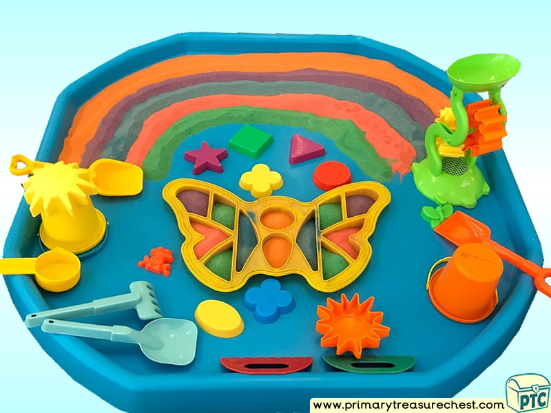 Rainbow Colours – Butterfly - Shapes Themed Discovery - Multi-sensory - Coloured Sand Tuff Tray Ideas and Activities