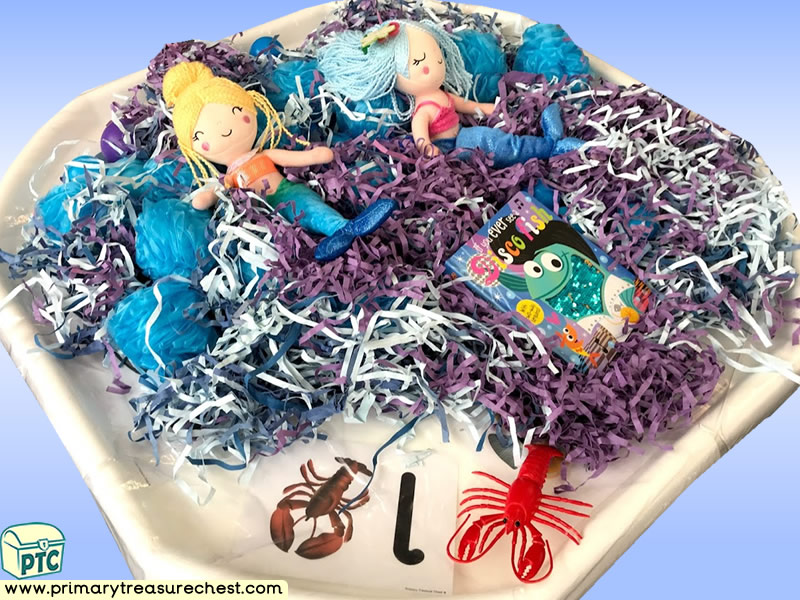 Sea life - Under the Sea - Mermaid Themed Phonics - Phonic Readiness - Letter Sound - Multi-sensory - Shredded Paper Tuff Tray Ideas and Activities