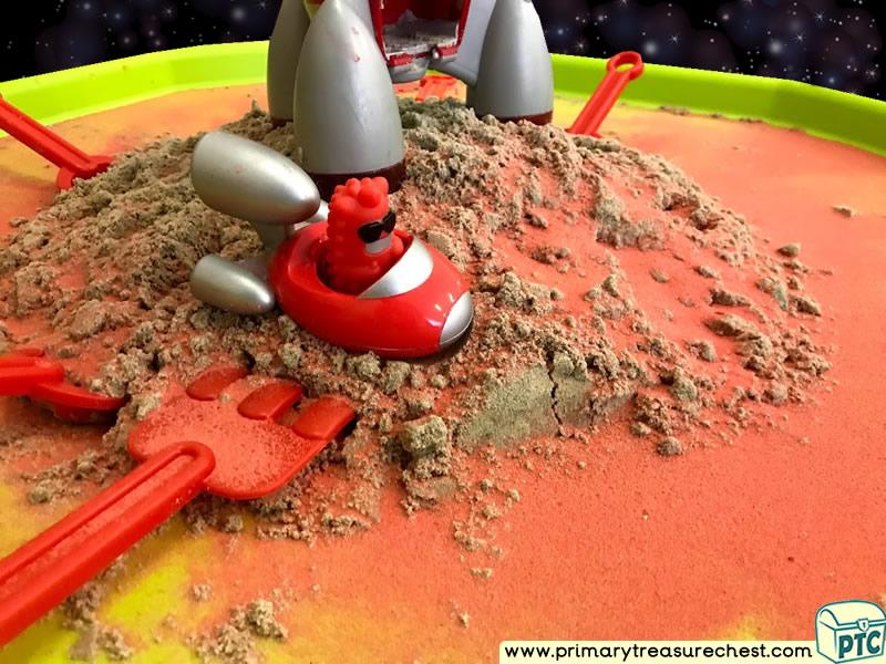 Space - Rocket - Alien - Mars Themed Small World Multi-sensory Coloured Sand Tuff Tray Ideas and Activities