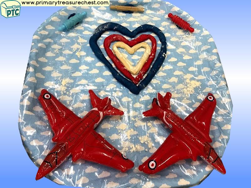 Seaside - Beach - Air Show - Aeroplanes - Red Arrows Themed Playdough Multi-sensory Tuff Tray Ideas and Activities