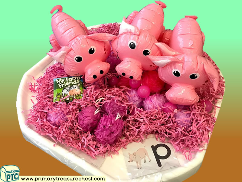 Farm Animals - The Three Little Pigs Themed Phonics - Phonic Readiness - Letter Sound Multi-sensory Shredded Paper Tuff Tray Ideas and Activities