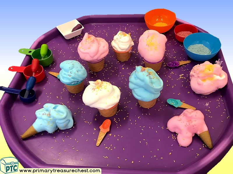 Fairground - Funfair - Fayre - Seaside - Ice Cream Themed Discovery Multi-sensory Mouldable Soap Tuff Tray Ideas and Activities