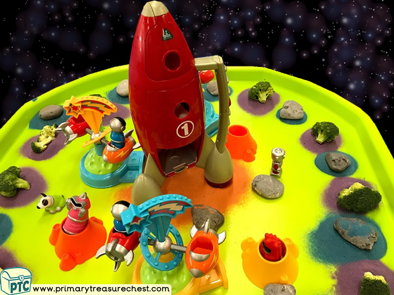 Space - Rocket - Robots - Astronaut Themed Small World Multi-sensory Coloured Sand Tuff Tray Ideas and Activities