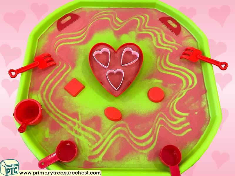 Valentine's Day - Dydd Santes Dwynwen - Heart Themed Mark Making Pre-Writing Patterns Letter Formation Multi-sensory - Sand Tuff Tray Ideas