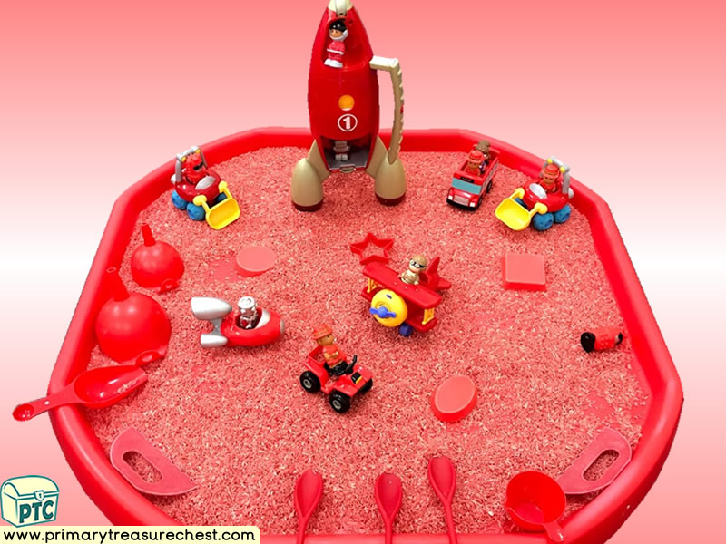 Colour Red - Colour Recognition – Transport - Space Themed Discovery Multi-sensory - Coloured Rice Tuff Tray Ideas and Activities