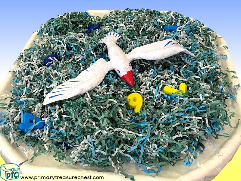 Seaside - Seagull Themed Numbers Multi-sensory - Shredded Paper Tuff Tray Ideas and Activities