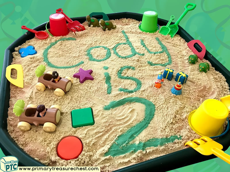 Birthday - Caveman - Dinosaur Themed Small World - Multi-sensory - Sand Tuff Tray Ideas and Activities