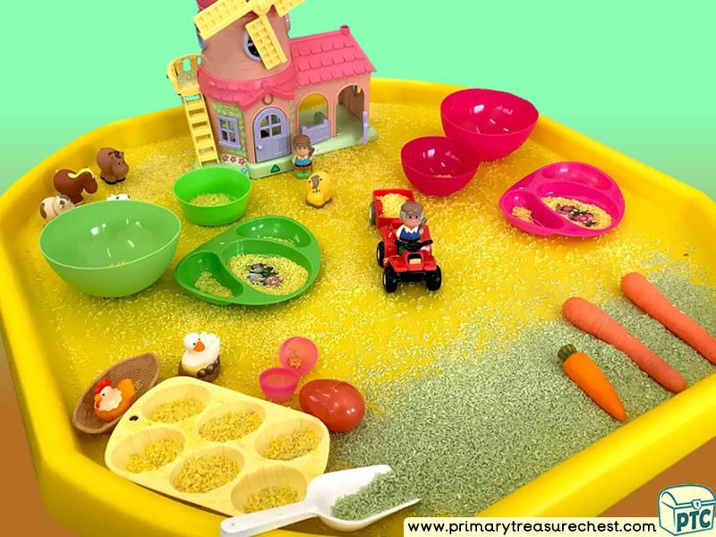Farm Animals - Farm - Foods - Harvest - Growing Themed Small World Multi-sensory Coloured Rice Tuff Tray Ideas and Activities