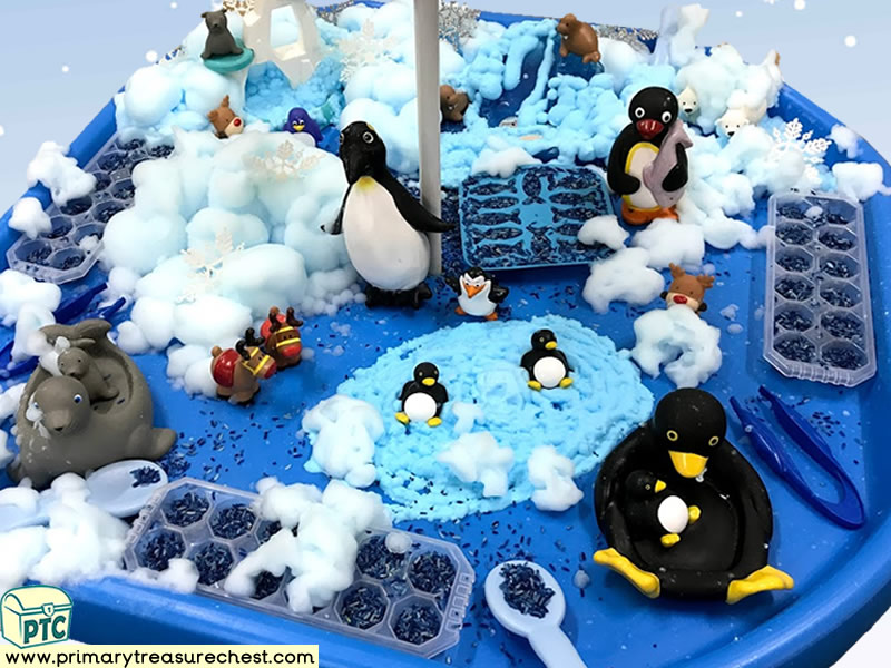 Winter – Penguin - Polar Animals Themed Small World Multi-sensory – Mouldable Soap - Rice Tuff Tray Ideas and Activities