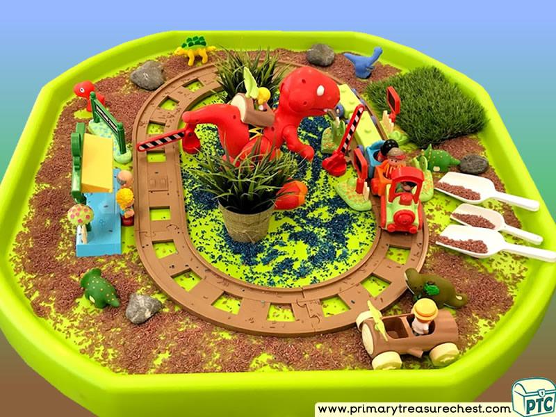Dinosaurs - Train - Caveman Themed Small World Multi-sensory - Coloured Rice Tuff Tray Ideas and Activities