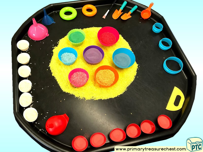 Rainbow Colours – Spots Themed Discovery Multi-sensory - Coloured Rice Tuff Tray Ideas and Activities