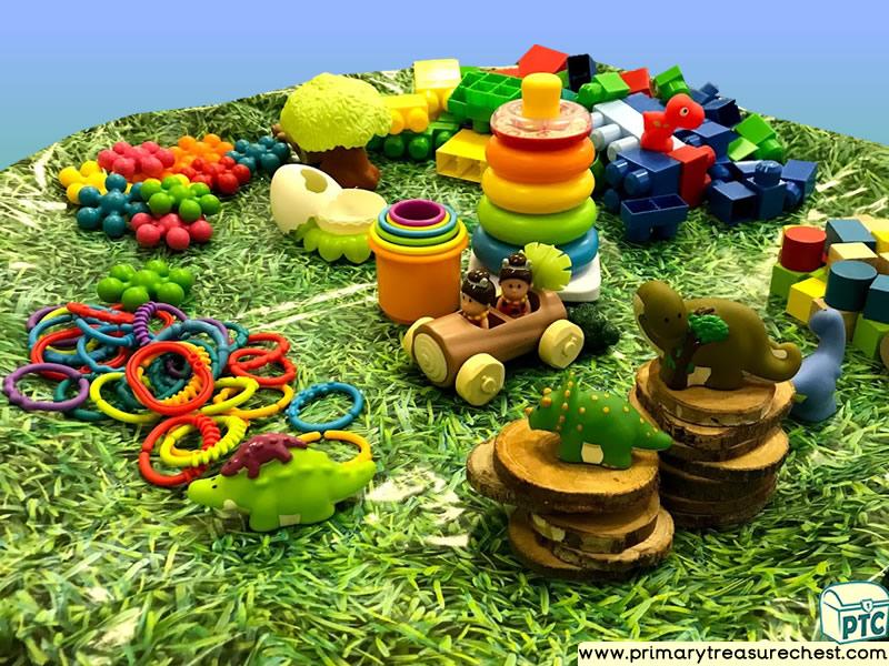 Dinosaur - Caveman Themed Construction - Multi-sensory Tuff Tray Ideas and Activities