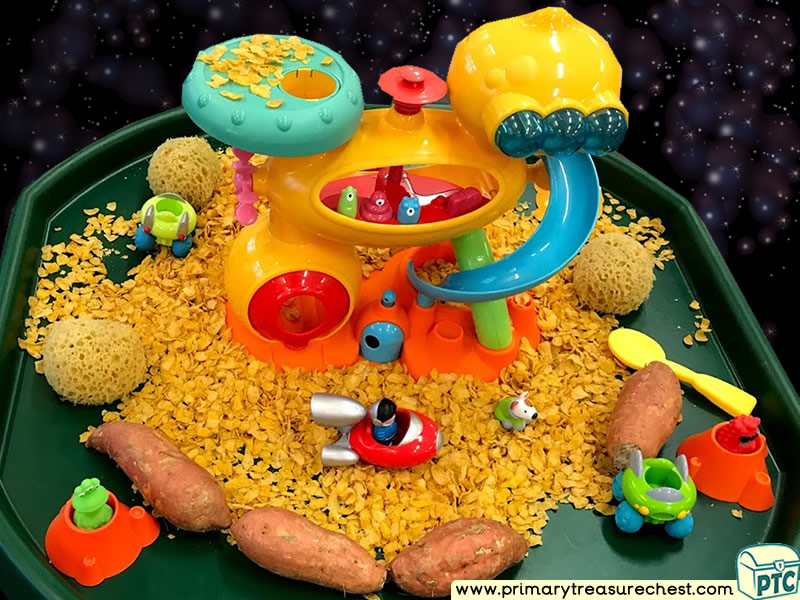 Space - Astronaut - Space Station - Alien Themed Small World Multi-sensory Cereals Tuff Tray Ideas and Activities