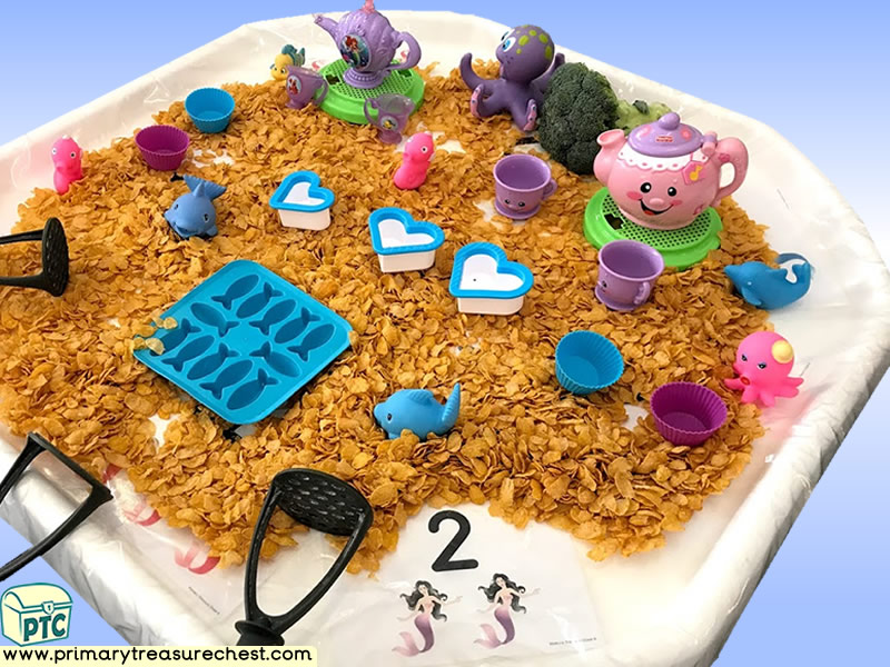 Sea life - Under the Sea Tea Party - Mermaid Themed Numbers - Multi-sensory - Cereal Tuff Tray Ideas and Activities