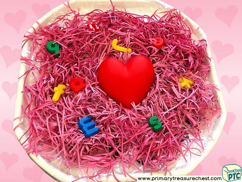 Valentine's Day - Dydd Santes Dwynwen - Heart Themed Phonics - Phonic Readiness - Letter Sound Multi-sensory - Shredded Paper Tuff Tray Ideas