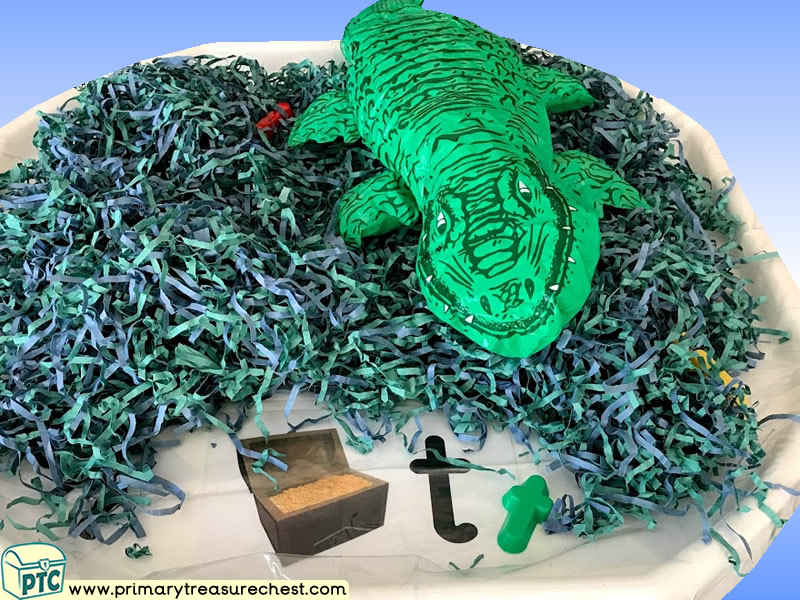 Pirates - Treasure - Crocodile Themed Phonics - Phonic Readiness - Letter Sounds Multi-sensory Shredded Paper Tuff Tray Ideas and Activities
