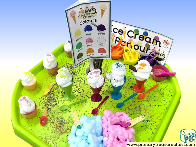 Seaside - Ice Cream Parlour Themed Discovery Multi-sensory - Mouldable Soap Tuff Tray Ideas and Activities