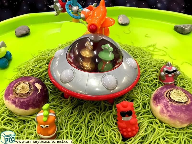 Space - Spaceship - Astronauts - Alien Themed Small World Multi-sensory Coloured Spaghetti Tuff Tray Ideas and Activities