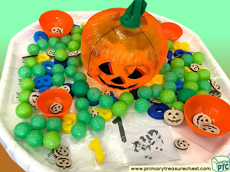 Farm Animals - Pumpkin Themed Numbers Multi-sensory Plastic Balls Tuff Tray Ideas and Activities