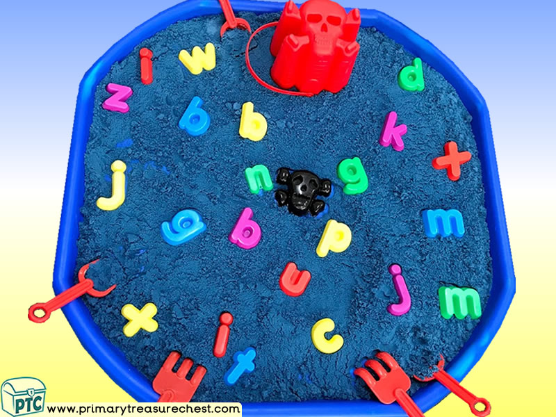 Pirates -Themed Phonics - Phonic Readiness - Letter Sounds Multi-sensory Sand Tuff Tray Ideas and Activities