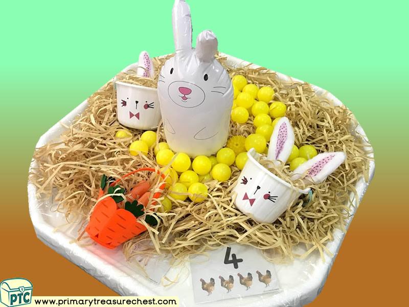 Farm Animals - Rabbit Themed Numbers Multi-sensory Shredded Paper Tuff Tray Ideas and Activities