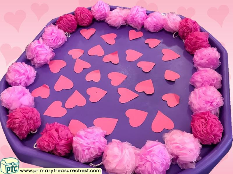 Valentine's Day - Dydd Santes Dwynwen - Hearts Themed Multi-sensory - Sponges Tuff Tray Ideas and Activities