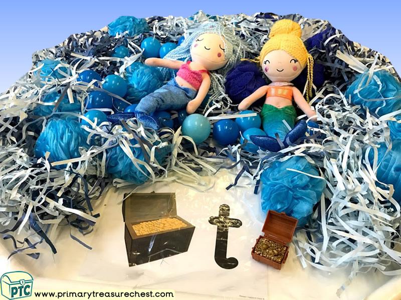 Pirates - Treasure - Under the Sea - Mermaids Themed Phonics - Phonic Readiness - Letter Sounds Multi-sensory Shredded Paper - Balls - Sponges Tuff Tr