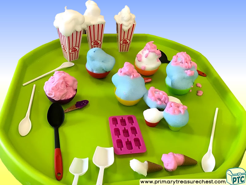 Seaside - Ice Cream - Funfair Themed Discovery Multi-sensory - Mouldable Soap Tuff Tray Ideas and Activities
