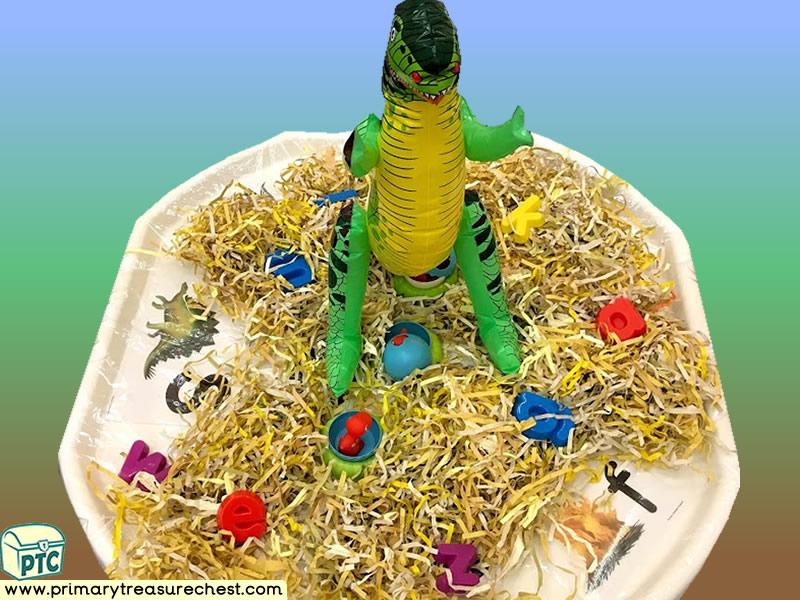 Dinosaur - Dinosaur Eggs - Caveman Themed Phonics - Phonic Readiness - Letter Sound - Multi-sensory -Shredded Paper Tuff Tray Ideas and Activities