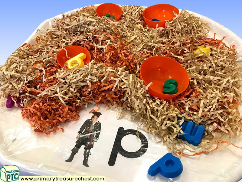 Pirates Themed Phonics - Phonic Readiness - Letter Sounds Multi-sensory Shredded Paper Tuff Tray Ideas and Activities