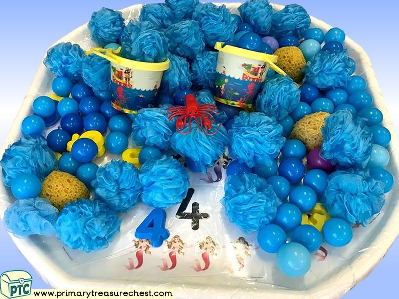 Sea life - Under the Sea - Mermaid Themed Numbers - Multi-sensory - Plastic Balls Tuff Tray Ideas and Activities