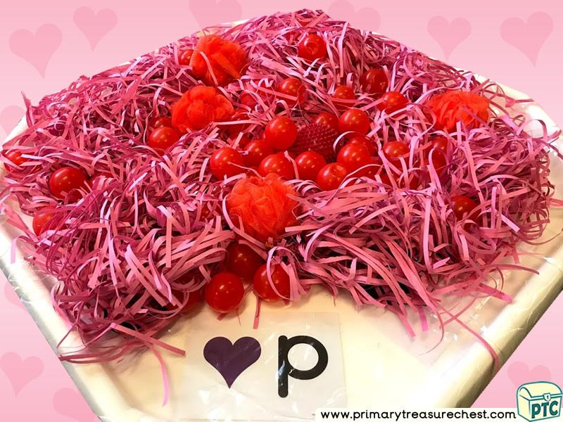Valentine's Day - Dydd Santes Dwynwen - Hearts Themed Phonics - Letter Sound Multi-sensory - Shredded Paper - Balls Tuff Tray Ideas and Activities