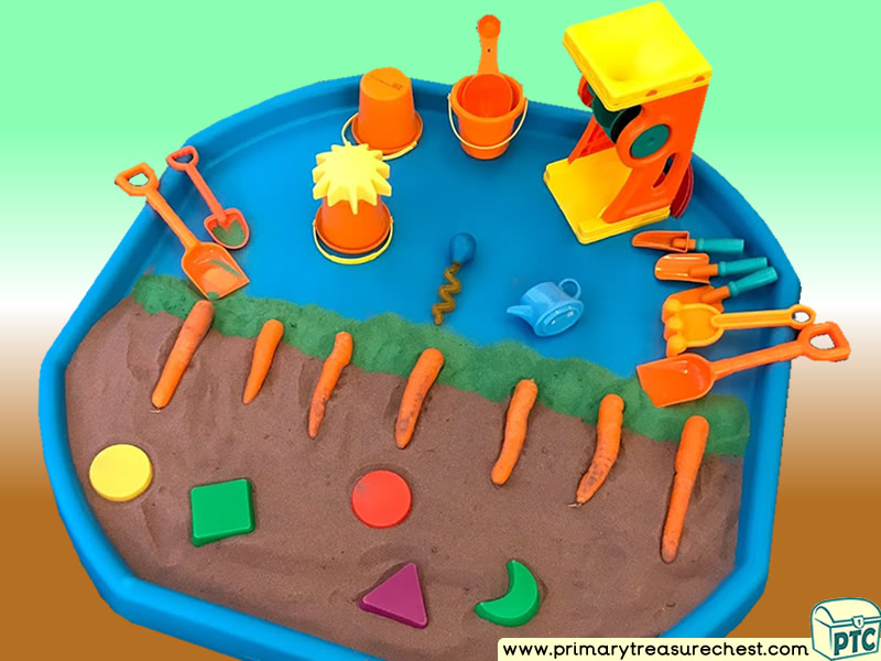Farm - Farm Foods - Harvest - Carrot Growing Themed Sand Multi-sensory Tuff Tray Ideas and Activities