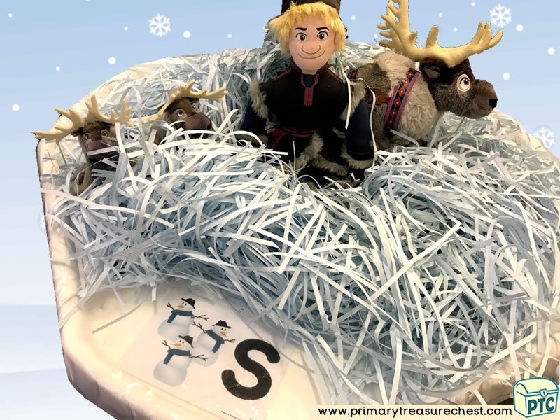 Winter - Frozen Themed Phonics - Phonic Readiness - Letter Sound Multi-sensory - Shredded Paper Tuff Tray Ideas and Activities