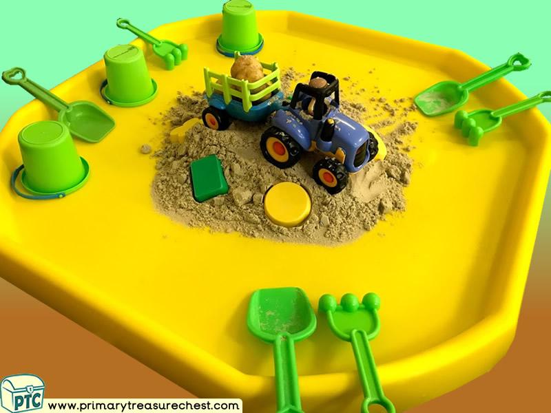 Farm - Farm Food - Potato - Harvest Themed Sand Multi-sensory Tuff Tray Ideas and Activities