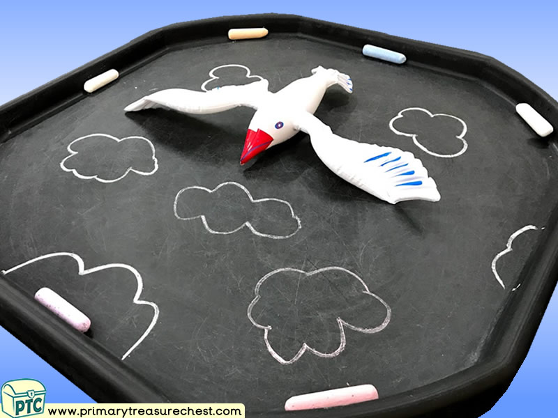 Seaside - Seagull Themed Mark Making Pre-Writing Patterns Letter Formation Multi-sensory Jumbo Chalks Tuff Tray Ideas and Activities
